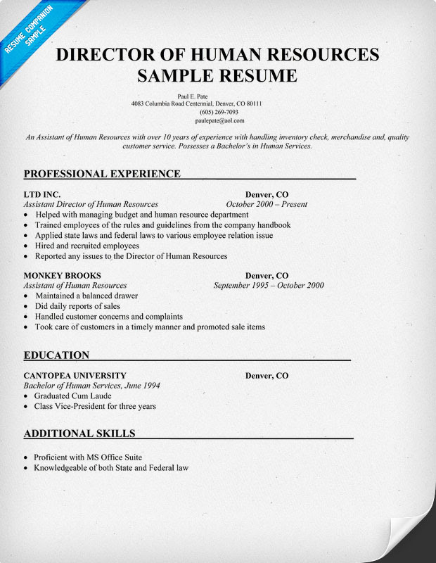 director of human resources resume sample