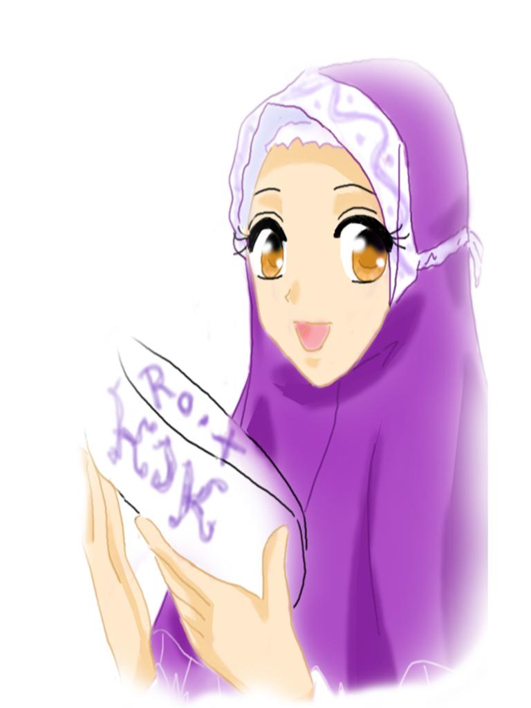 550 Gambar Kartun Muslimah Ungu HD Terbaik