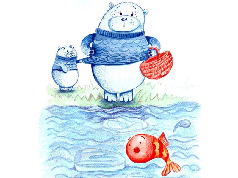 Kids wall art. Mama bear goes fishing illustration