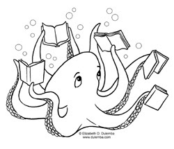 dulemba coloring page tuesday reading octopus. Black Bedroom Furniture Sets. Home Design Ideas
