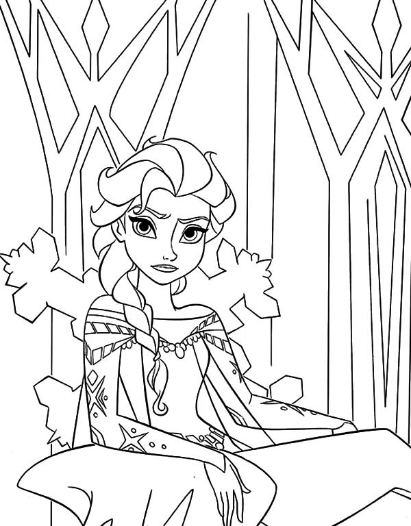 Walt Disney Queen Elsa Sitting on Her Throne Coloring Pages