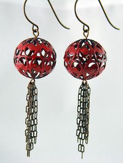 Lantern Tassel Earrings Glass Addictions by Jennifer Cameron