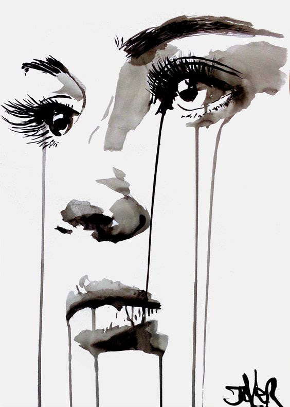 Face By Loui Jover, Watercolor Painting