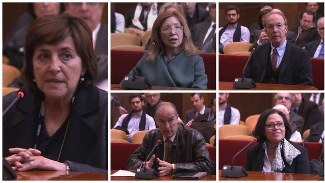 Cinc dels testimonis que han declarat aquest dimarts al matí: Montse Llobet, Dolores Agenjo, Jesús Rul, Josep Alsina i Josefa Bosch