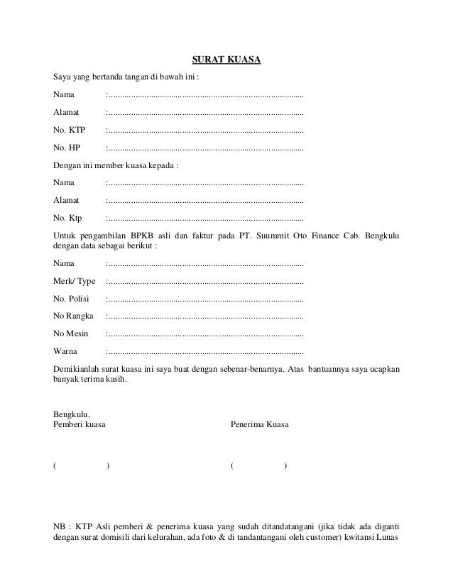 Contoh Surat Kuasa Oto Finance - Surat W