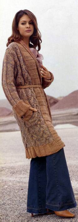 """Пальто с воротником """"шалька"""" и поясом"""