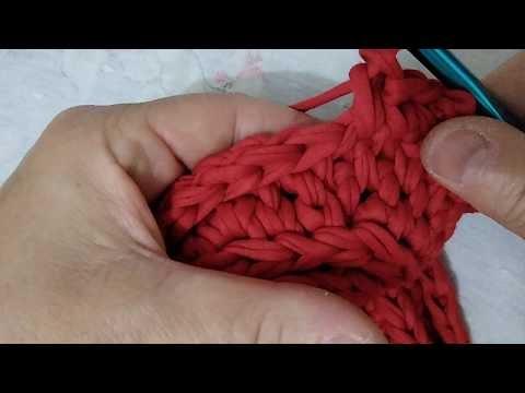 Cesto em crochê,  base em ponto caracol, com fio de malha, |parte 02|