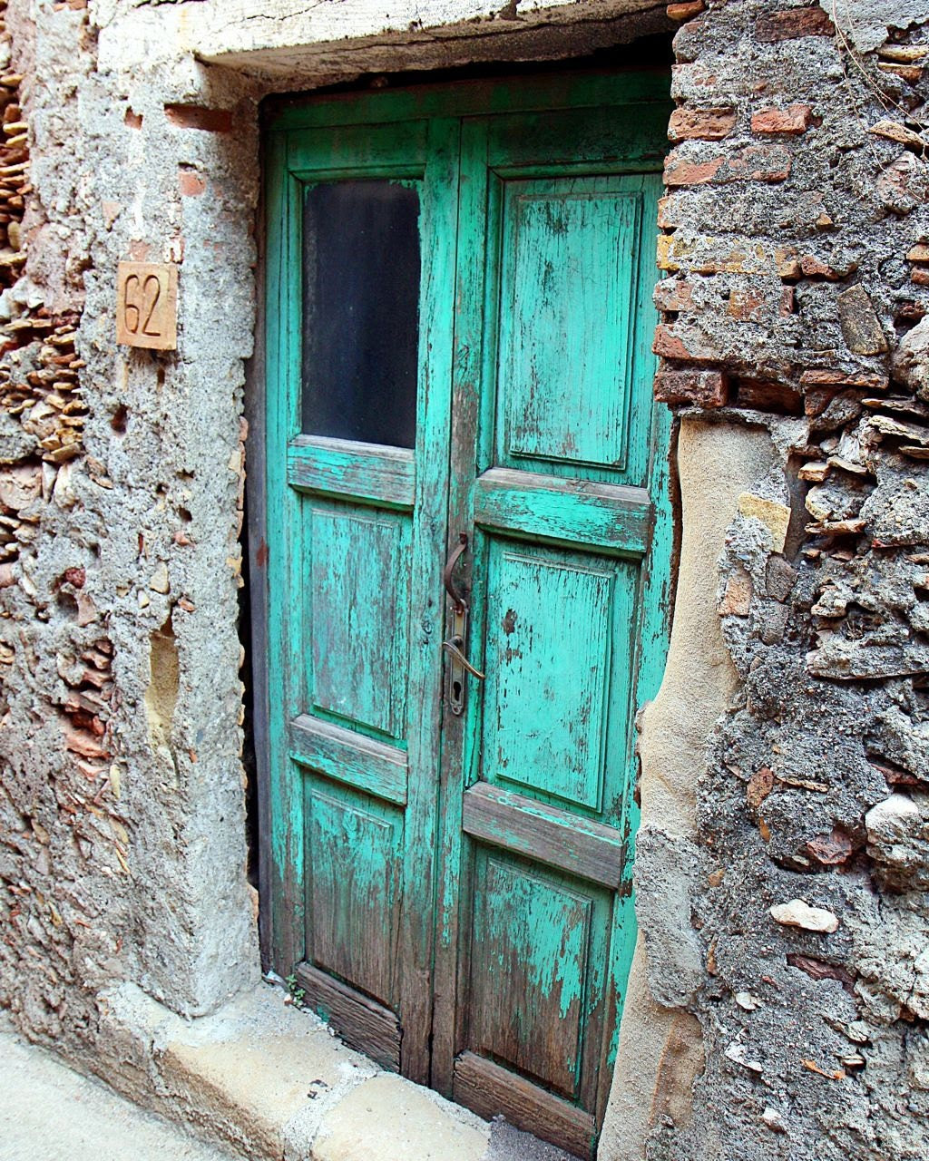 Turquoise Decor - Aqua Door Photograph - Sicily Italy Photo - Old Blue Door Photography - Rustic Turquoise - Stone Wood - Natural Farmhouse