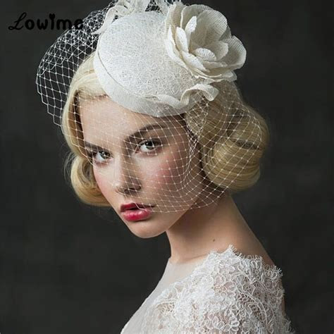 UK Vintage Princess Bridal Hats Linen Wedding Hair