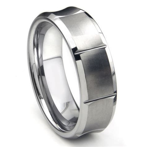 Tungsten Carbide Concave Wedding Band Ring w/ Horizontal