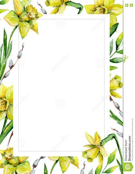 Daffodils And Green Grass And Pussy willow On White Flower