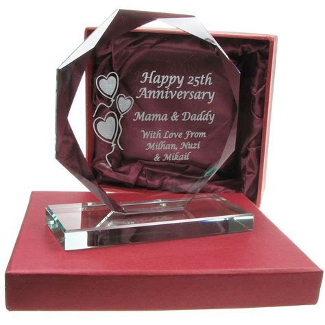 Personalised 25th Silver Wedding Anniversary Engraved Cut