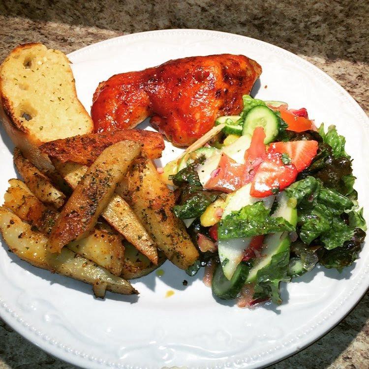 Happy Sunday Garlicpotatoes Chicken Bbqchicken Salad