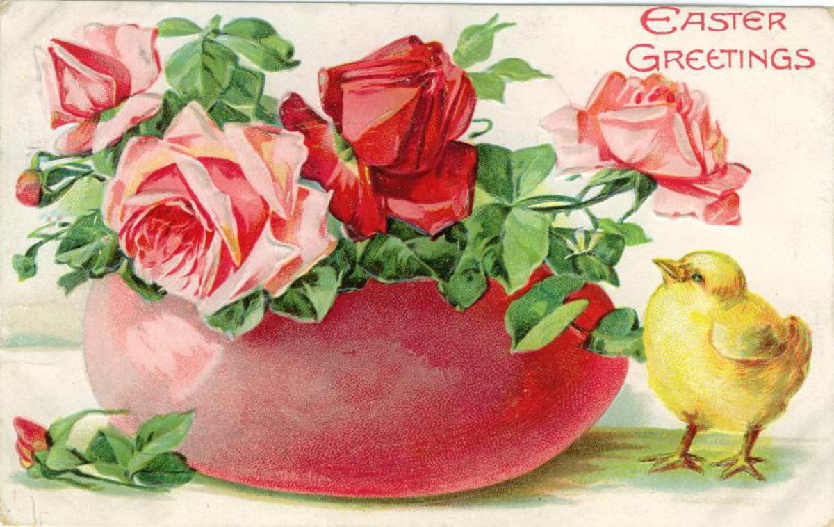 "Easter flowers greeting card: Pink and red roses ""Easter Greetings"""