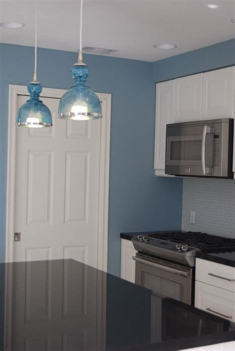 remodelaholic bright  blue  beautiful kitchen remodel