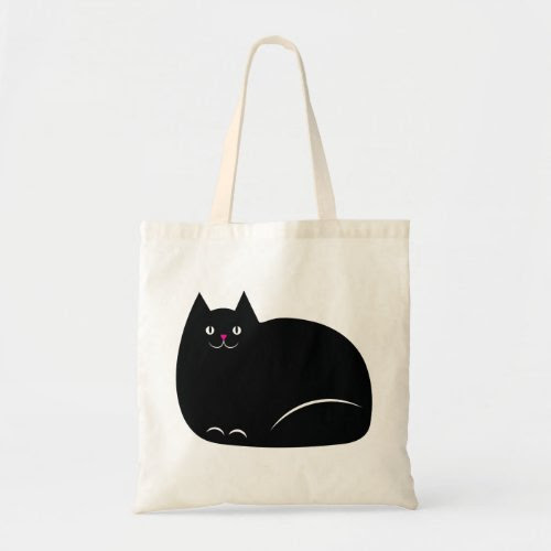 Cute Fat Black Cat Tote Bag