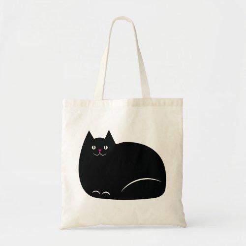 Cute Fat Black Cat Tote Bag