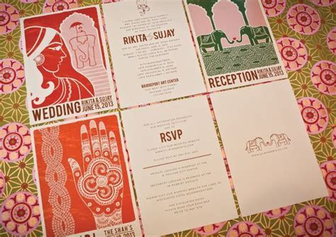 Modern vintage Indian wedding invitations by