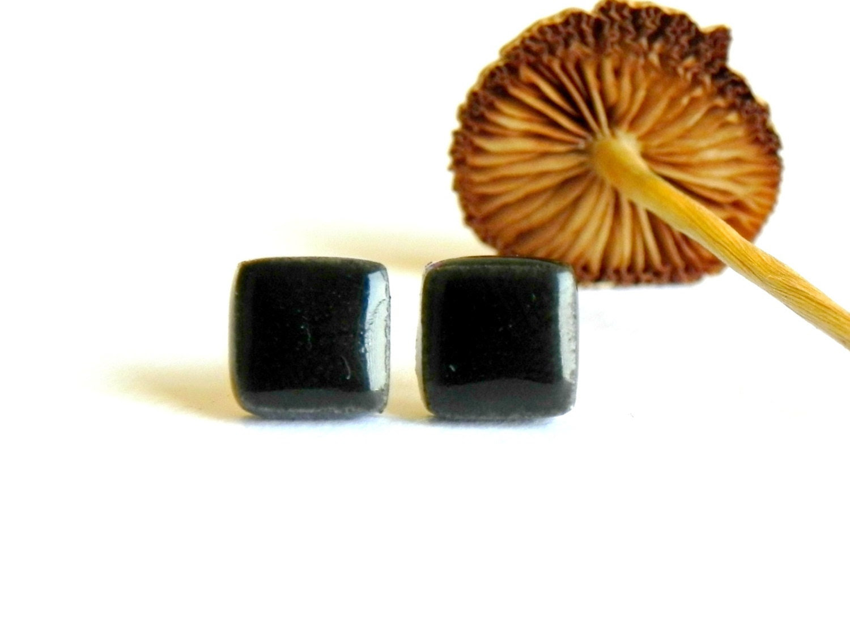 Unisex Black Stud Earrings Geometric Ceramic Men Hypoallergenic Posts - LemoneRouge