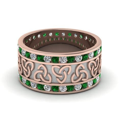 Emerald Celtic Knot Diamond Wedding Band In 14K Rose Gold