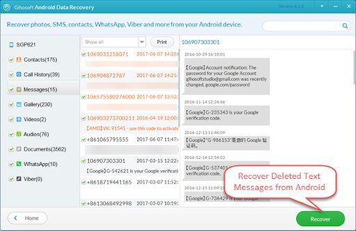 How to Recover deleted message from Samsung S7 - Picasa and