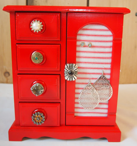 finished red jewelry box