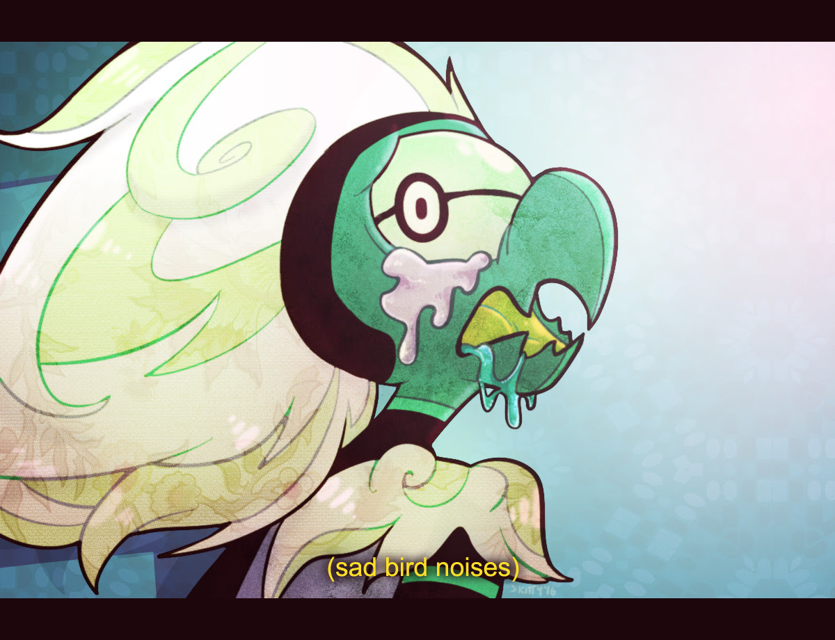 "Screenshot redraw type thing from Monster Reunion! Really liked the expression. And veeeerrry fond of the ""half-transformed monster frantically struggles to hold on to memories and articulate itself""..."