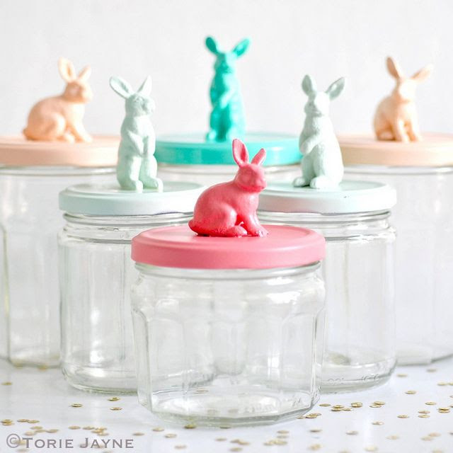 Easy easter crafts with household objects: Chic, modern Easter bunny storage jars at Torie Jayne