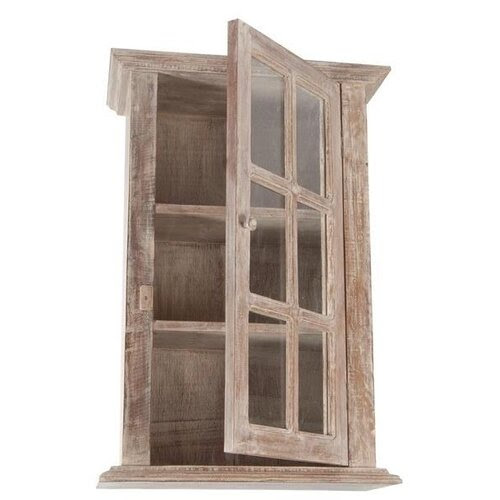 Wall Cabinet with Glass Front in Natural Limed finish ...
