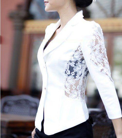 • Terninho Blazer social com Renda Branco ou Preto