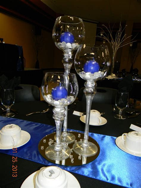 Set/3 stemmed hurricane globes, gems, royal blue round