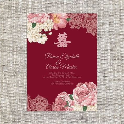DIY Printable/Editable Chinese Wedding Invitation Card