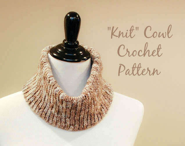"Easily achieve a knit look with basic crochet stitches ... Free ""Knit"" Crochet Cowl Pattern."