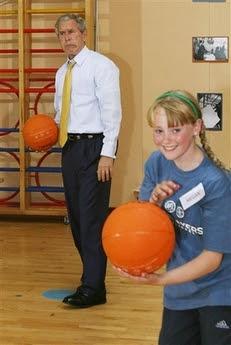 Bush & the basketball game of doom, 6.16.08   5