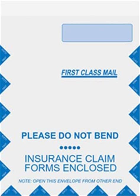 large insurance claim form envelope