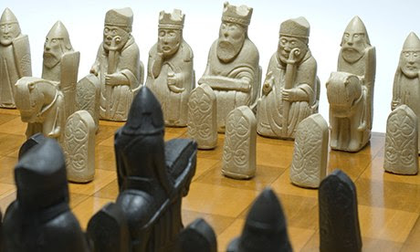 Viking style chess pieces on a chequered chess board. Image shot 2008. Exact date unknown.