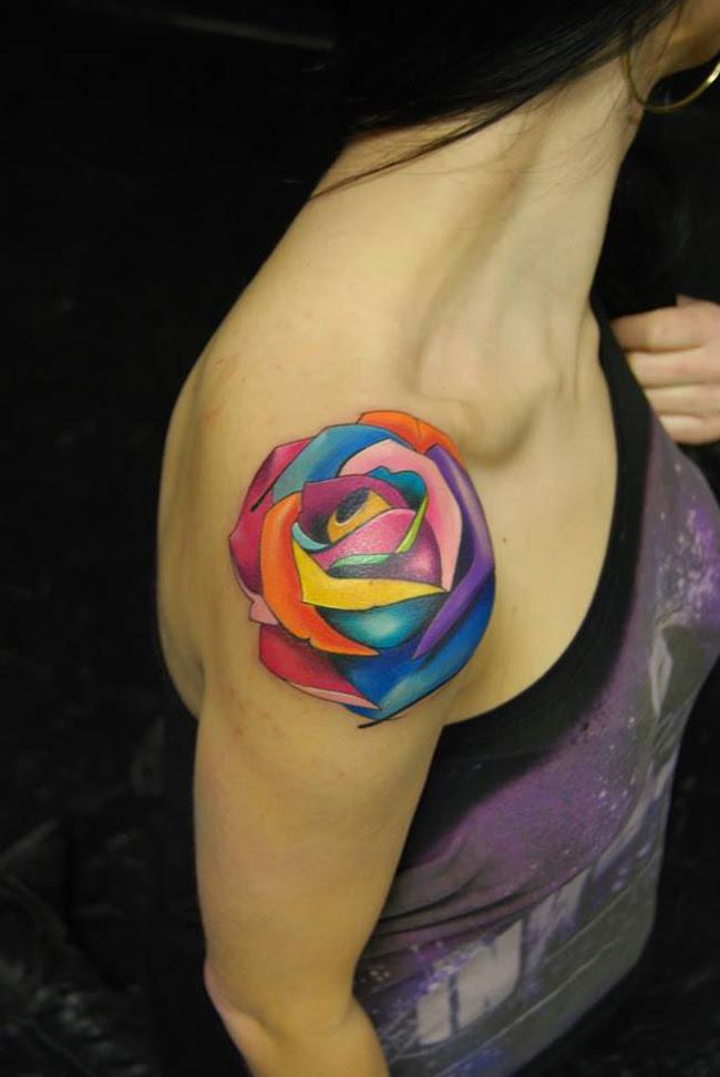 Multicolored Rose Tattoo Best Tattoo Design Ideas