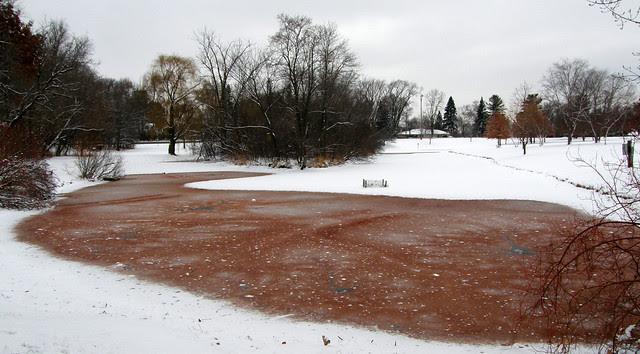 A red Thorpe pond