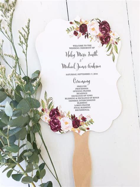 Wedding Program Fan Marsala   Love of Creating Design Co