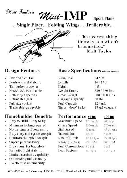 MINI-IMP TAYLOR AEROCAR – PLANS AND INFORMATION SET FOR