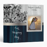 Our Wedding Day | Elegant White & Dark Blue Satin 3 Ring Binders