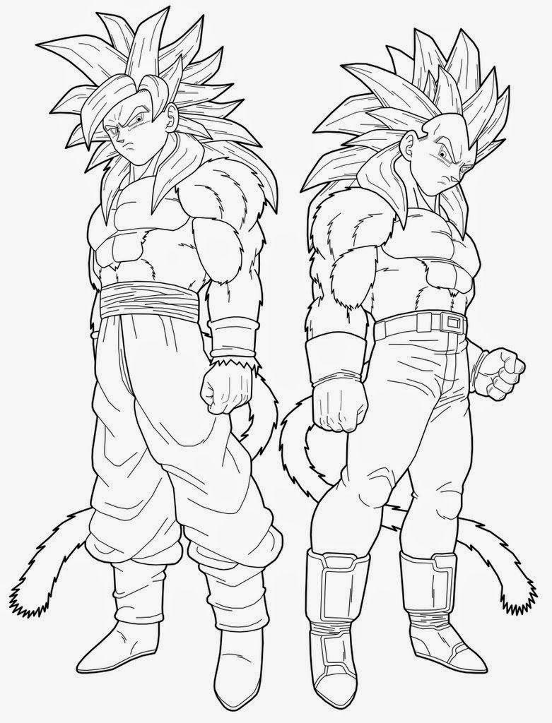 Dibujo De Goku Y Vegeta Fase 4 De Dragon Ball Gt Para Pintar Y