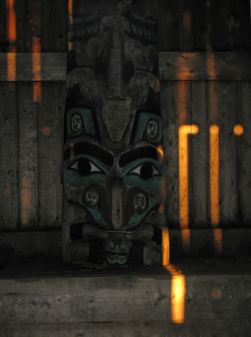 morning light inside Chief Son-i-Hat Whale House, Kasaan, Alaska