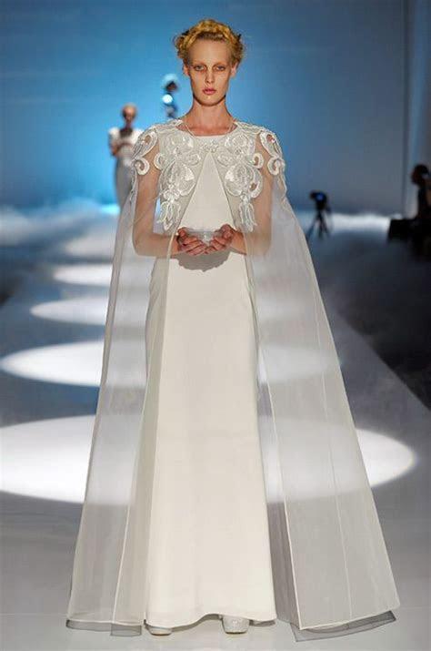 A long sheer bridal cape from David Fielden, 2013   Bridal