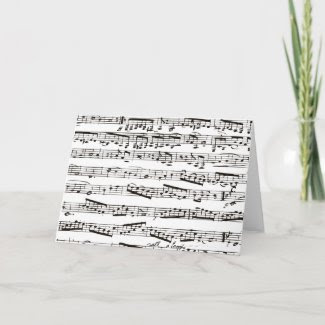 Black and white musical notes cards