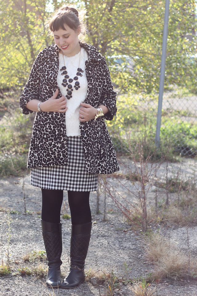 "Odette outfit: feathery Anthropologie ""Guimauve Top"", black and white gingham pencil skirt, black tights, quilted black leather boots, black bauble bubble necklace, Noir Jewelry Dinosaur bone rib cage cuff bracelet"