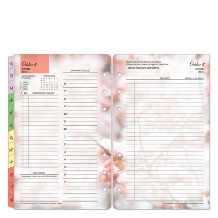 Compact Blooms Ring-bound Daily Planner - Oct 2016 - Sep 2017 ...