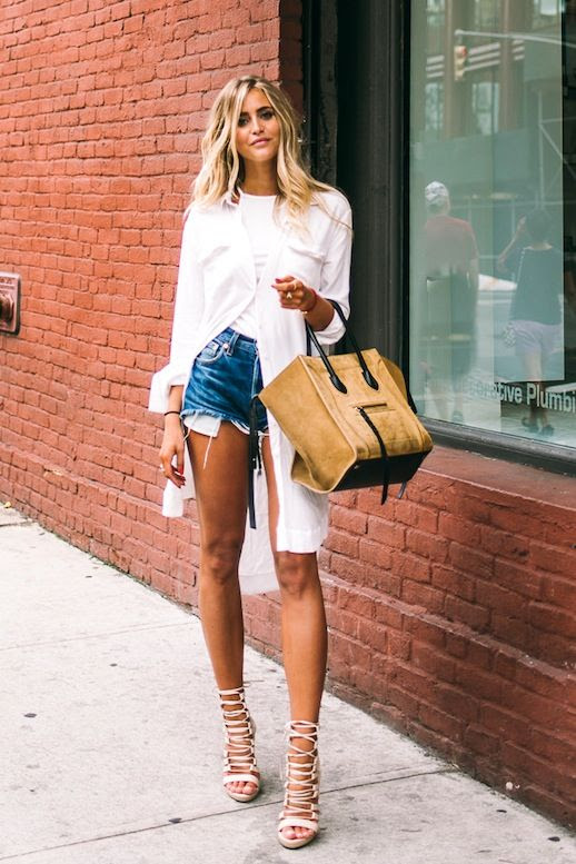 Le Fashion Blog Blogger Style Layers White Shirtdress Tee Cut Off Jean Shorts Suede Camel Tote Bag Tan Lace Up Heeled Sandals Via Jannie Deler