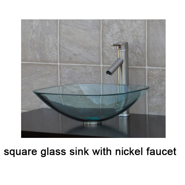 Clear Square Glass Vessel Sink Chrome Waterfall Faucet Free Pop Up