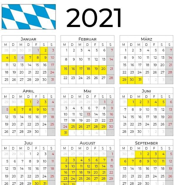 Februar 2021 Feiertage Bayern : Ferien Und Feiertage 2021 ...